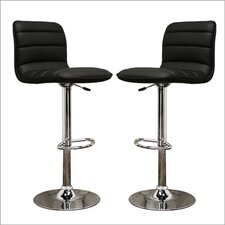 "Baxton Studio Lyris 24.5"" Adjustable Swivel Bar Stool with Cushion (Set of 2)"