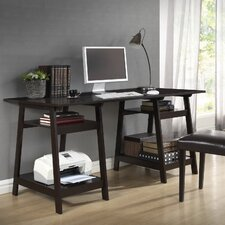 <strong>Wholesale Interiors</strong> Baxton Studio Large Mott Wood Modern Writing Desk with Sawhorse Legs