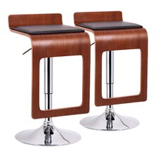 Baxton Studio Murl Adjustable Swivel Bar Stool with Cushion (Set of 2)