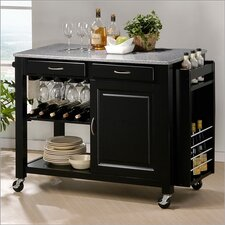 <strong>Wholesale Interiors</strong> Baxton Studio Phoenix Modern Kitchen Island with Granite Top