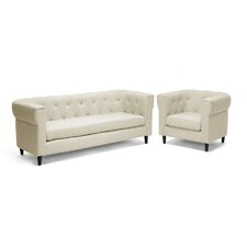 Baxton Studio Cortland Chesterfield Sofa Set