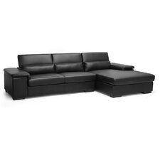 Baxton Studio Dolan Leather Sectional with Right Facing Chaise