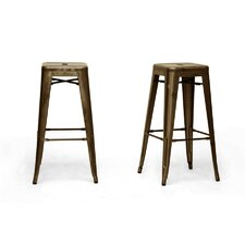 "Baxton Studio French Industrial 30.5"" Bar Stool (Set of 2)"