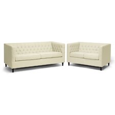 Baxton Studio Darrow Leather Sofa Set