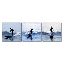 Baxton Studio Surf Silhouettes 3 Piece Photographic Print on Canvas Set
