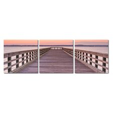 Baxton Studio Pier Sunset Mounted 3 Piece Photographic Print on Canvas Set
