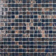 "<strong>Giorbello</strong> Gold Leaf 12-7/8"" x 12-7/8"" Glass Tile in Midnight Blue"