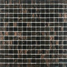 "<strong>Giorbello</strong> Gold Leaf 12-7/8"" x 12-7/8"" Glass Tile in Black Gold"