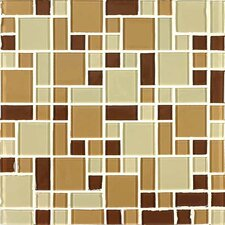 "<strong>Giorbello</strong> Constellation 11-3/4"" x 11-3/4"" Cristezza Glass Tile in Coffee Aroma"