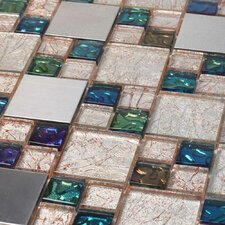 "Venetian 11-7/8"" x 11-7/8"" Glass and Aluminum Tile in Genoa"