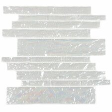 "Club 10-1/2"" x 9-1/2"" Cristezza Wave Glass Tile in Bright White"
