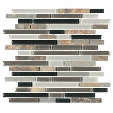 "Glacier Mountain 11-3/4"" x 11-3/4"" Piano Stone and Glass Tile in Slate"