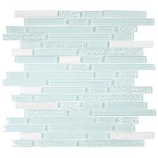 "Glacier Mountain 11-3/4"" x 11-3/4"" Piano Stone and Glass Tile in Atlantic"