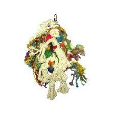 Rope, Leather and Wood Cluster Bird Toy