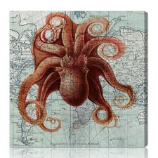 """Octopus"" Graphic Art on Canvas"