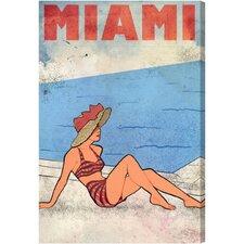 Miami Lady Vintage Advertisment on Canvas