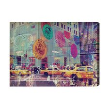 NYC Fashion Taxi Graphic Art on Canvas