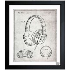 Headphones 2010 Gray Framed Art