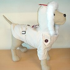 Alaskan Dog Coat with Faux Fur-Lined Hood in Cream