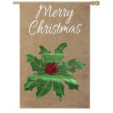 Merry Christmas Holly Vertical Flag