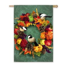 Fall Floral Wreath Vertical Flag