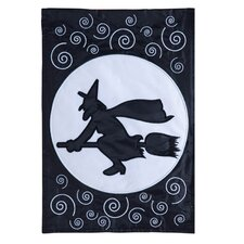 Here Comes The Witch! Applique Garden Flag
