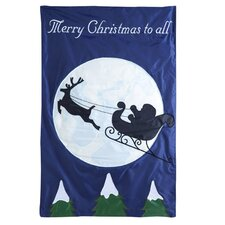 Santa's Sleigh Ride Applique Garden Flag