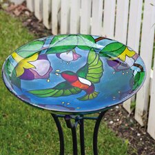 Hummingbird Grandure Stained Look Birdbath
