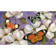 Sublimated Silk Reflections Dogwood Flowers and Butterlies Floormat