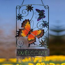Butterfly Flutter Decorative Design Post Garden Sign