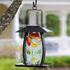<strong>Evergreen Flag & Garden</strong> Butterfly Floral Solar Bird Feeder