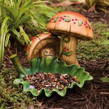 Gnome Sweet Gnome Mushrooms Statue with Leaf Decorative Bird Feeder