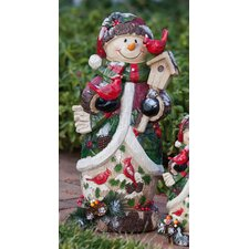 Berry and Pine Snowman Statue Christmas Decoration