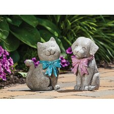 Pleasant Pals Dog and Cat Statue (Set of 2)