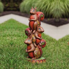 Jeweled Garden Squirrel Totem Statue