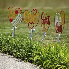 Valentine Heart Garden Stake (Set of 4)