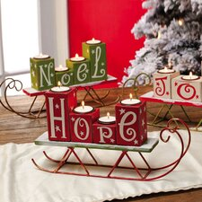 Happy Holidays Hope Joy Noel Wooden Candle Holder (Set of 3)
