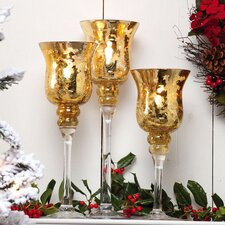 A Peaceful Christmas Glass Candlestick (Set of 3)