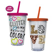 Glitter Love Animal Print Insulated Cup