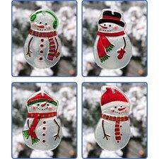 Snowmen Hand Painted Glass Ornament (Set of 4)