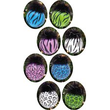 Zebra / Leopard Glass Ball with Maribou Ornament (Set of 8)