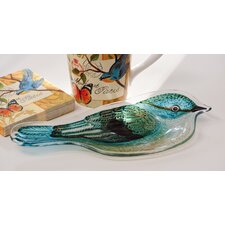 Bird Study Hand Painted Glass Platter (Set of 2)