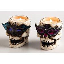 LED Skull Tealight Holder with Glitter (Set of 2)