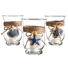 Nautical Glass Hurricane (Set of 3)