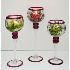 3 Piece Glass Hurricane Set