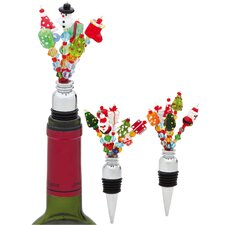 Holiday Frizzle Frazzle Beaded Wine Stopper (Set of 3)