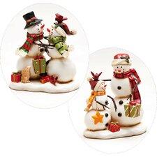 Happy Holly Days Snowman Polystone Table Decor (Set of 2)