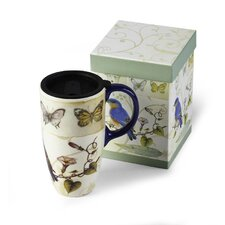 Bird and Butterflies Latte Travel Mug