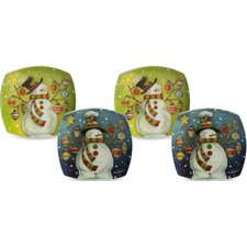 Believe in Snow Angels Ceramic Square Dessert Platter (Set of 4)