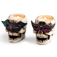 LED Skull Tealight Holder with Glitter (Set of 2)